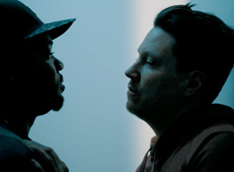 Image is a still photo of an Intense face to face from the movie Brothers